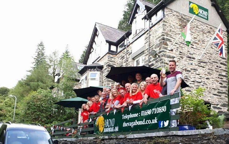 ABF Soldiers Charity - Snowdonia Challenge team outside Vagabond Bunkhouse